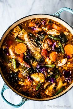 This chicken vegetable soup is loaded with shredded chicken and tons of healthy veggies. We use bone-in chicken which gives the savory tomato broth tons of flavor. It's a warm and cozy chicken soup recipe that the whole family will love! Vegetable Soup With Chicken, Vegetable Soup Recipes, Chicken Soup Recipes, Easy Soup Recipes, Chicken And Vegetables, Healthy Recipes, Veggies, Vegetable Soup Healthy, Curry Recipes