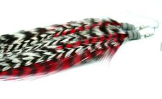 Feather Earrings  Long Racing Stripes Red Black by JazdyneDesigns, $15.00