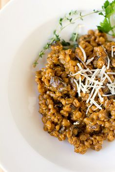 Mushroom Barley Risotto - Made this last night and my husband was licking the bowl as if it were cake batter!