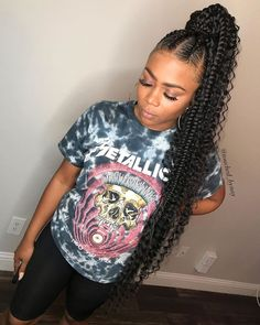 85 Box Braids Hairstyles for Black Women - Hairstyles Trends Goddess Braid Ponytail, Feed In Braids Ponytail, Feed In Braids Hairstyles, Black Girl Braided Hairstyles, Braids With Curls, Braided Ponytail Hairstyles, Black Girl Braids, Ponytail Styles, Braids For Black Hair