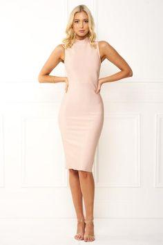 Honey Couture Pink Turtleneck Bandage Bodycon Midi Dress