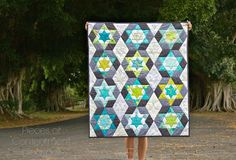 Peaceful Night quilt, hand stitched EPP  by Karen at Pieces of Contentment
