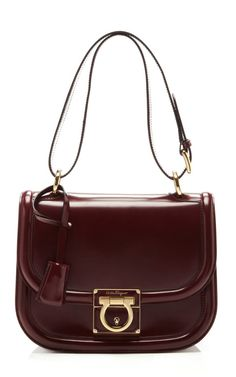 'Jody' Calfskin Leather Shoulder Bag by Salvatore Ferragamo in Rust Red
