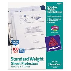Avery Top Load Standard Polypropylene Sheet Protectors Semi-Clear 100/Box (75... #Avery