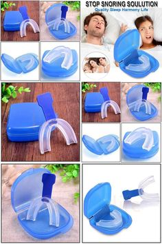[Visit to Buy] Anti Snore Stop Snoring Mouth Device Guard Good Sleep Aid No Apnea Silicon Blue #Advertisement