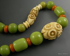 Art Deco Carved Celluloid and Bakelite Green by worn2perfection, $125.00