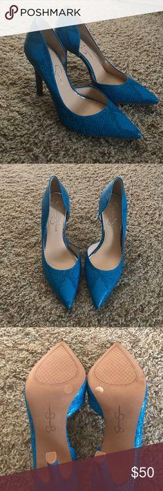 Jessica Simpson Claudette de Orsey heels Jessica Simpson Claudette de orsey heels. Turquoise snake print. Size 8.5, never worn Jessica Simpson Shoes Heels
