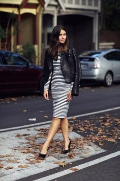leather / striped dress / patent pumps