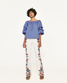 ZARA - WOMAN - SIDE PRINTED FLARED TROUSERS
