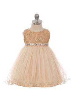 Champagne Sleeveless Shiny Tulle Flower Girls Dress with Beaded Waist