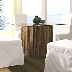 Found it at www.dcgstores.com - ♥ ♥ Square Dining Table - Bamboo Stick Bunch Base, Glass Top ♥ ♥