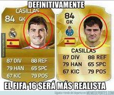 La cara de #Casillas en el #FiFa16 es todo un poema...