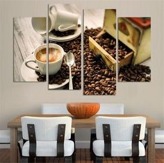 4 Panel Coffee Wall Art Picture Modern Painting Canvas Home Decoration Living Room Canvas Print--Large Canvas Art Unframed Large Canvas Art, Canvas Wall Art, Painting Canvas, Ottoman In Living Room, Living Room Decor, Living Room Canvas Prints, Coffee Wall Art, Panel Wall Art, Home Decor Paintings