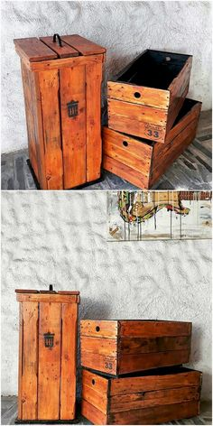 This trash bin option design of the wood pallet is so uniquely designed out for your house outdoor areas. Its most catchier feature has been its storage boxes ideal blend that makes it so majestic looking. You can make it look much more perfect with rustic use of pallet in its designing.