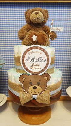Diaper cake at a teddy bear baby shower party! See more party planning ideas at CatchMyParty.com! Picnic Baby Showers, Baby Shower Baskets, Baby Shower Diapers, Teddy Bear Baby Shower, Baby Boy Shower, Baby Shower Gifts, Shower Party, Baby Shower Parties, Baby Event