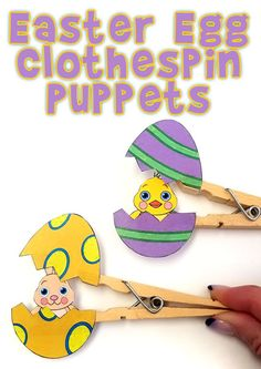 Surprise Easter Clothespin Puppets Printable Craft