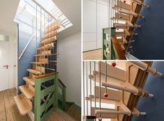 13 Stair Design Ideas For Small Spaces // These tall narrow stairs are made from over 100 pieces of birch plywood, birch dowels, and steel rods that interlock to create a visually intriguing staircase that takes on a different look from every angle.