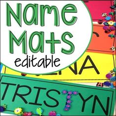 FREE Editable Name Mats perfect to use all over the classroom to help preschool pre-k and kindergarten kiddos learn their names. Name Writing Activities, Name Activities Preschool, Kindergarten Names, Pre K Activities, Preschool Literacy, Free Preschool, Preschool Lessons, Kindergarten Classroom, Classroom Ideas