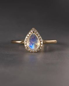 Moonstone engagement ring Vintage Halo Diamond Curved Wedding Women Antique Pear Shaped Stacking Bridal set Promise Anniversary gift for her - Schmuckideens Black Diamond Engagement, Floral Engagement Ring, Shop Engagement Rings, Vintage Engagement Rings, Diamond Wedding Bands, Wedding Rings, Ring Verlobung, Pear Ring, Rings