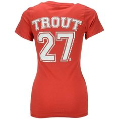 5th & Ocean Women's Mike Trout Los Angeles Angels of Anaheim Player... ($30) ❤ liked on Polyvore featuring tops, t-shirts, red, long length shirts, t shirt, tee-shirt, v-neck tee and v-neck shirt