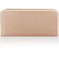 Accessorize Rose Glitter Hardcase Clutch Bag ($44) ❤ liked on Polyvore featuring bags, handbags, clutches, beige clutches, accessorize handbags, rosette purse, strap purse and accessorize purses