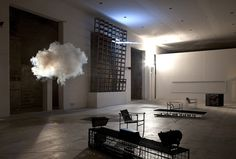 berndnaut smilde's clouds. Smilde's godlike powers come from simple science — he carefully regulates the temperature and humidity of the space, ensuring that conditions are perfect. Then, he sprays a short burst from a fog machine to create a cottony cloud suspended in the middle of the room for just an instant before it collapses.