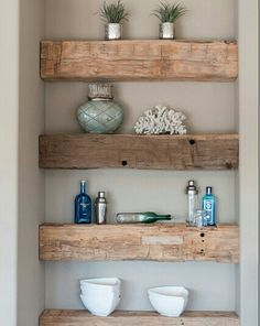 Railway sleeper shelves- sounds way too heavy, but generally interesting to see 4 shallow shelves in place of two deeper ones