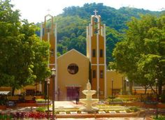 Public Plaza and Catholic Church in Comerío, Puerto Rico.
