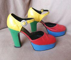 Vintage 70's Platform Shoes Color Block by momodeluxevintage, $159.00