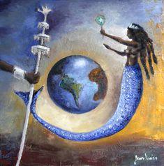 """ Yemanjá, Oxalá and the Earth Creation."" by Jean Louiss Fantasy Artwork, Yemaya Orisha, African Mythology, Black Goddess, Afro Art, African American Art, Egyptian Art, People Art, Stone Painting"