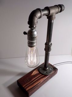 Classic Edison Industrial Steampunk Lamp With Red Mahogany Base