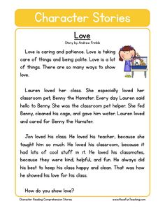 This Reading Comprehension Worksheet - Love is for teaching reading comprehension. Use this reading comprehension story to teach reading comprehension.