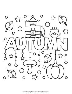 Free printable Fall coloring pages for use in your classroom or home from PrimaryGames. Free printable online Fall Coloring Pages eBook for use in your classroom or home from PrimaryGames. Print and color this Autumn coloring page. Fall Coloring Sheets, Pumpkin Coloring Pages, Thanksgiving Coloring Pages, Fall Coloring Pages, Adult Coloring Pages, Coloring Pages For Kids, Coloring Books, Fairy Coloring, Kids Coloring