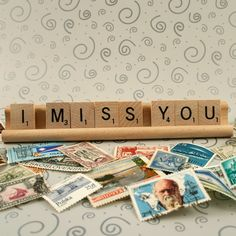 "Long Distance Love ""I Miss You"" #Scrabble tiles #stamps #breakup"