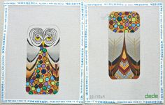 Dede:  2-side Mille Fleur Owl Eye Glass Case handpainted needlepoint canvas #Dede #Handpainted