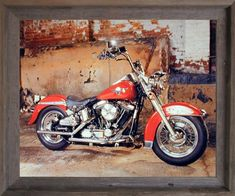 1954 Red Panhead Harley Davidson Vintage Motorcycle Bike Wall Art Print 16x20