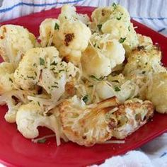 Roasted Garlic Cauliflower Recipe Side Dishes with minced garlic, olive oil, cauliflower, grated parmesan cheese, salt, black pepper, fresh parsley
