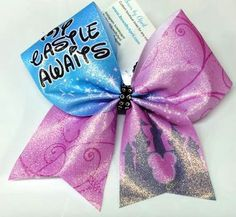 Bows by April - My Castle Awaits Pink and Cinderella Blue Glitter Princess Castle Cheer Bow, $15.00 (http://www.bowsbyapril.com/my-castle-awaits-pink-and-cinderella-blue-glitter-princess-castle-cheer-bow/)