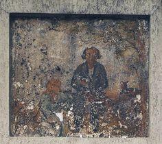"""Café à l'enseigne """" l'aveugle de Bagnolet """"  Adresse : Rue Sadi-Carnot , Bagnolet, France  Datation XIXe siècle    Cette enseigne est le portrait d'un personnage populaire à Bagnolet sous la Restauration"""