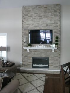 "DIY ""Fireplace"" Stones over wood frame, electric inset fireplace"