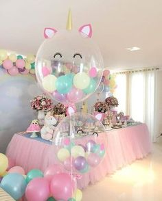 Beautiful soft pink and blue colors for party decorations. Unicorn balloons perfect for baby shower or girls birthday party. Job well done! Source by riannemcd Balloon Decorations Party, Birthday Party Decorations, Birthday Ideas, Pink Decorations, Unicorn Baby Shower Decorations, Blue Party Decorations, Balloon Ideas, Unicorn Themed Birthday, Festa Party