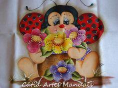 Passo a passo pintura Joaninha florista....risco em tanho natural da pintura.