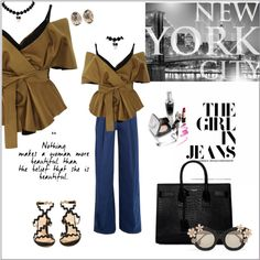 The girl in jeans by frenchfriesblackmg on Polyvore featuring polyvore, fashion, style, Acler, Sara Battaglia, Chloé, Yves Saint Laurent, Melissa Joy Manning, Alice   Olivia and Brewster Home Fashions