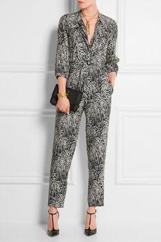Vanessa Seward|Combi-pantalon en jacquard de soie imprimée Combinaison|NET-A-PORTER.COM