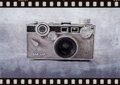 1950's Vintage Argus Camera With Filmstrip Border 1950's Argus C3 35mm rangefinder camera photograph with filmstrip border.