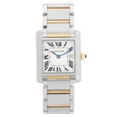 Cartier Tank Francaise Men's 2-Tone Watch W51005Q4 Rolex Watches For Men, Fine Watches, Cool Watches, Stainless Steel Tanks, Stainless Steel Watch, Cartier Tank Americaine, Swiss Watch Brands, Cartier Tank Francaise