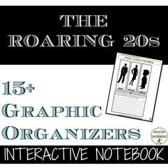 The Roaring Twenties: Interactive Notebook Pages is a set of templates and possible responses to organize notes on the Roaring Twenties. Pictures of the notebook pages included. Great to use with a variety of Roaring Twenties activities and projects. Roaring Twenties, The Twenties, Teapot Dome Scandal, High School History, Interactive Notebooks, Graphic Organizers, High School Students, Teaching Resources, Organization