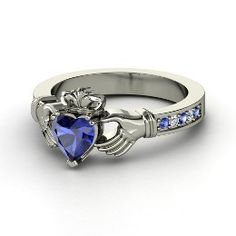 Claddagh Ring, Heart Sapphire White Gold Ring with Sapphire