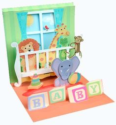 Crib Animals Treasures Pop Up New Baby Card
