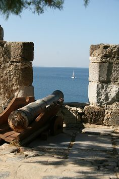 Canon on ramparts in Castle of Knights of St John -Bodrum, Turkey